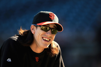 SAN FRANCISCO - OCTOBER 13:  Tim Lincecum of the San Francisco Giants warms up during a workout session in preparation for the National League Championship Series at AT&T Park on October 13, 2010 in San Francisco, California.  (Photo by Ezra Shaw/Getty Im