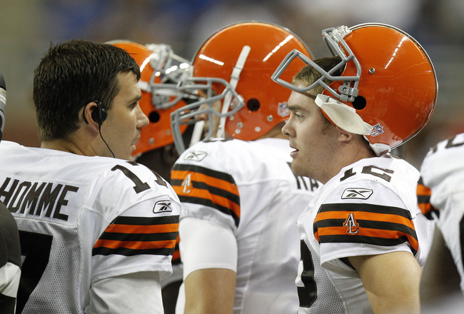 DETROIT - AUGUST 28:  Colt McCoy #12 of the Cleveland Browns talks with Jake Delhomme #17 while playing the Detroit Lions in a preseason game on August 28, 2010 at Ford Field in Detroit, Michigan.  (Photo by Gregory Shamus/Getty Images)