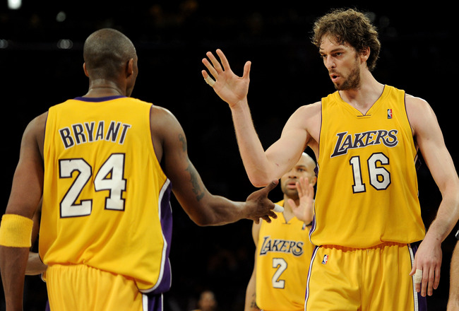 LOS ANGELES, CA - MAY 17:  Guard Kobe Bryant #24 of the Los Angeles Lakers and Pau Gasol #16 celebrate a play against the Phoenix Suns in Game One of the Western Conference Finals during the 2010 NBA Playoffs at Staples Center on May 17, 2010 in Los Angel