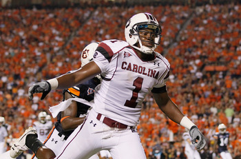 AUBURN, AL - SEPTEMBER 25:  Alshon Jeffery #1 of the South Carolina Gamecocks against the Auburn Tigers at Jordan-Hare Stadium on September 25, 2010 in Auburn, Alabama.  (Photo by Kevin C. Cox/Getty Images)