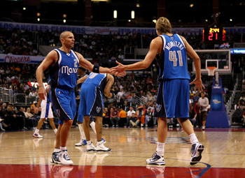 LOS ANGELES, CA - OCTOBER 31:  Jason Kidd #2 and Dirk Nowitzki #41 of the Dallas Mavericks celebrate during the game against the Los Angeles Clippers on October 31, 2009 at Staples Center in Los Angeles, California.  Dallas won 93-84.   NOTE TO USER: User