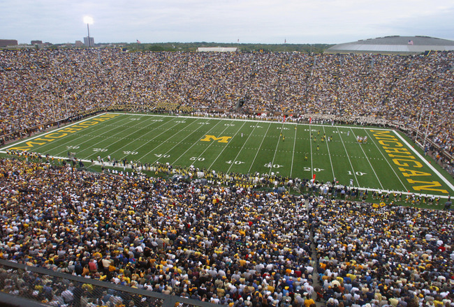 ANN ARBOR, MI - SEPTEMBER 25:  General view inside of Michigan Stadium during the game between the Iowa Hawkeyes and the Michigan Wolverines on September 25, 2004 in Ann Arbor, Michigan.  A crowd of 111,428 fans attended as Michigan defeated Iowa 30-17.