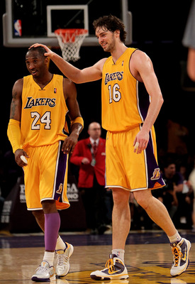 LOS ANGELES - MARCH 19: Kobe Bryant #24 and Pau Gasol #16 of the Los Angeles Lakers celebrate during the game with the Minnesota Timberwolves on March 19, 2010 at Staples Center in Los Angeles, California.  The Lakeres won 104-96. NOTE TO USER: User expre