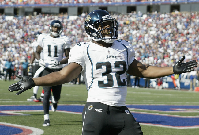 ORCHARD PARK, NY - OCTOBER 10: Maurice Jones-Drew #32 of the Jacksonville Jaguars celebrates what he thinks is a touchdown that was called back for a penalty in the third quarter against the Buffalo Bills at Ralph Wilson Stadium on October 10, 2010 in Orc