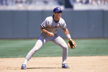 OAKLAND, CA - 1989:  Paul Molitor #4 of the Milwaukee Brewers plays defense during the 1989 season game against the Oakland Athletics at Oakland-Alameda County Coliseum in Oakland, California.  (Photo by Otto Greule Jr/Getty Images)