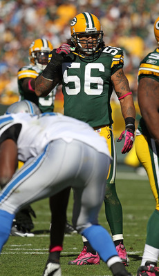 GREEN BAY, WI - OCTOBER 03: Nick Barnett #56 of the Green Bay Packers awaits the start of play against the Detroit Lions at Lambeau Field on October 3, 2010 in Green Bay, Wisconsin. The Packers defeated the Lions 28-26. (Photo by Jonathan Daniel/Getty Ima