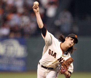 SAN FRANCISCO - OCTOBER 07:  Tim Lincecum #55 of the San Francisco Giants pitches against the Atlanta Braves in game 1 of the NLDS at AT&T Park on October 7, 2010 in San Francisco, California.  (Photo by Ezra Shaw/Getty Images)