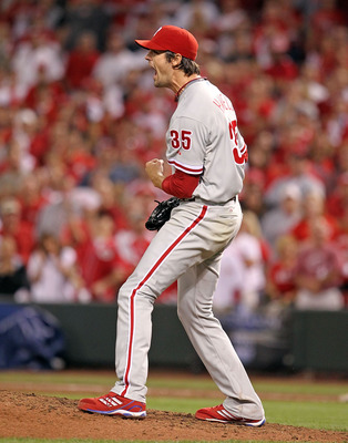 CINCINNATI - OCTOBER 10:  Cole Hamels #35 of the Philadelphia Phillies celebrates a complete game shut-out against the Cincinnati Reds during Game 3 of the NLDS at Great American Ball Park on October 10, 2010 in Cincinnati, Ohio.The Phillies defeated the