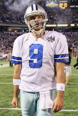 MINNEAPOLIS - OCTOBER 17:  Quarterback Tony Romo #9 of the Dallas Cowboys walks off the field following the game against the Minnesota Vikings at Mall of America Field on October 17, 2010 in Minneapolis, Minnesota. The Vikings defeated the Cowboys 24-21.