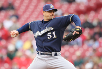 CINCINNATI - MAY 18: Trevor Hoffman #51 of the Milwaukee Brewers throws a pitch in the 9th inning during the game against the Cincinnati Reds at Great American Ball Park on May 18, 2010 in Cincinnati, Ohio. The Reds won 5-4. (Photo by Andy Lyons/Getty Ima