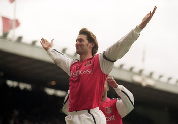 26 Dec 2000:  Tony Adams celebrates his goal for Arsenal during the FA Carling Premier League match against Leicester City played at Highbury in London. Arsenal won the game 6-1. \ Mandatory Credit: Mike Hewitt /Allsport