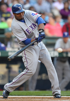 SEATTLE - AUGUST 03:  Nelson Cruz #17 of the Texas Rangers bats against the Seattle Mariners at Safeco Field on August 3, 2010 in Seattle, Washington. (Photo by Otto Greule Jr/Getty Images)