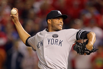 ARLINGTON, TX - OCTOBER 15:  Mariano Rivera #42 of the New York Yankees throws a pitch against the Texas Rangers in Game One of the ALCS during the 2010 MLB Playoffs at Rangers Ballpark in Arlington on October 15, 2010 in Arlington, Texas.  (Photo by Rona