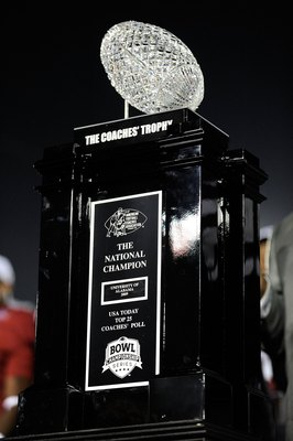 PASADENA, CA - JANUARY 07:  The BCS National Championship trophy which was won by the Alabama Crimson Tide after winning the Citi BCS National Championship game over the Texas Longhorns at the Rose Bowl on January 7, 2010 in Pasadena, California. The Crim