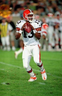 12 Aug 2000: Quarterback Wynn Spergon #13 of the Cleveland Browns moves back to pass the ball during the Pre-Season game against the Chicago Bears at Soldier Field in Chicago, Illinois.  The Bears defeated the Browns 19-6.Mandatory Credit: Jonathan Daniel
