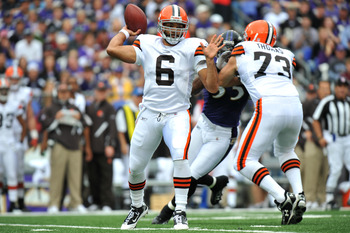 BALTIMORE - SEPTEMBER 26:  Seneca Wallace #6 of the Cleveland Browns passes against the Baltimore Ravens  at M&T Bank Stadium on September 26, 2010 in Baltimore, Maryland. The Ravens defeated the Browns 24-17. (Photo by Larry French/Getty Images)