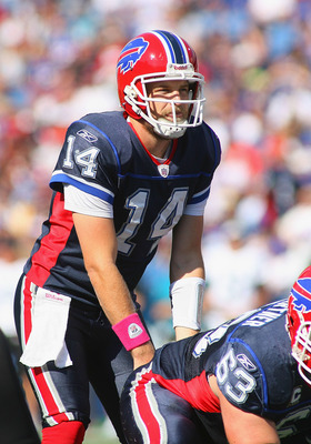 ORCHARD PARK, NY - OCTOBER 10: Ryan Fitzpatrick #14 of the Buffalo Bills gets ready to take the snap agaisnt the Jacksonville Jaguars at Ralph Wilson Stadium on October 10, 2010 in Orchard Park, New York. Jacksonville won 36-26. (Photo by Rick Stewart/Get