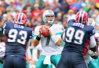 ORCHARD PARK, NY - SEPTEMBER 12: Chad Henne #7 of the Miami Dolphins readies to pass as Chris Ellis #93 and Marcus Stroud #99 of  the Buffalo Bills rush during the NFL season opener at Ralph Wilson Stadium on September 12, 2010 in Orchard Park, New York.