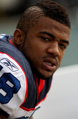 GREEN BAY, WI - SEPTEMBER 19: Aaron Maybin #58 of the Buffalo Bills sits on the bench during a game against the Green Bay Packers at Lambeau Field on September 19, 2010 in Green Bay, Wisconsin. The Packers defeated the Bills 34-7. (Photo by Jonathan Danie