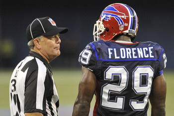 TORONTO, CANADA - AUGUST 19: Field Judge Scott Edwards #3 speaks with Drayton Florence #29 of the Buffalo Bills during a break in game action against the Indianapolis Colts on August 19, 2010 at the Rogers Centre in Toronto, Ontario, Canada. (Photo by Bra