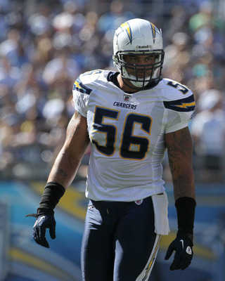 SAN DIEGO - SEPTEMBER 19:  Linebacker Shawne Merriman #56 of the San Diego Chargers waits on the line of scrimmage against the Jacksonville Jaguars at Qualcomm Stadium on September 19, 2010 in San Diego, California. The Chargers won 38-13.  (Photo by Step