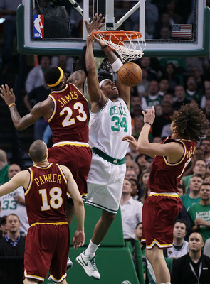 Paul Pierce dunks the ball against Lebron James and the Cavs.