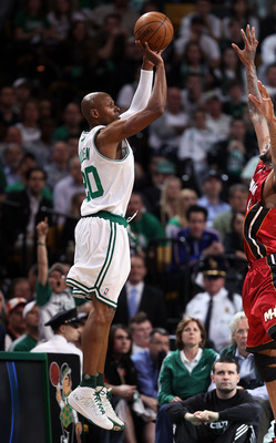Ray Allen shoots a three pointer.