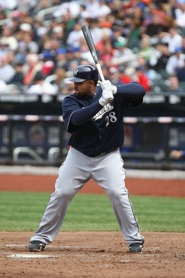 NEW YORK - APRIL 19:  Prince Fielder #28 of the Milwaukee Brewers at bat against the New York Mets at Citi Field on April 19, 2009 in the Flushing neighborhood of the Queens borough of New York City.  (Photo by Nick Laham/Getty Images)