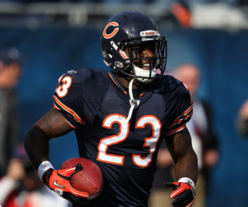 CHICAGO - OCTOBER 17: Devin Hester #23 of the Chicago Bears smiles after returning a punt 89 years for a touchdown in the 4th quarter against the Seattle Seahawks at Soldier Field on October 17, 2010 in Chicago, Illinois. The Seahawks defeated the Bears 2