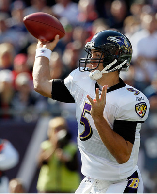 FOXBORO, MA - OCTOBER 17:  Joe Flacco #5 of the Baltimore Ravens throws against the New England Patriots at Gillette Stadium on October 17, 2010 in Foxboro, Massachusetts. (Photo by Jim Rogash/Getty Images)