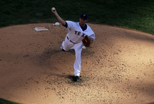 ARLINGTON, TX - OCTOBER 16:  Colby Lewis #48 of the Texas Rangers throws a pitch against the New York Yankees in Game Two of the ALCS during the 2010 MLB Playoffs at Rangers Ballpark in Arlington on October 16, 2010 in Arlington, Texas.  (Photo by Ronald