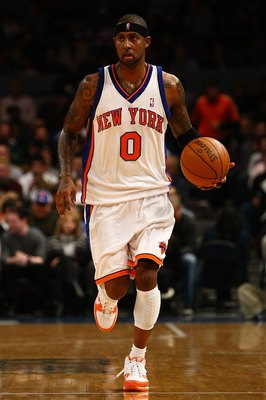 NEW YORK - NOVEMBER 29:  Larry Hughes #0 of the New York Knicks looks to pass  against the Orlando Magic at Madison Square Garden November 29, 2009 in New York City. NOTE TO USER: User expressly acknowledges and agrees that, by downloading and/or using th