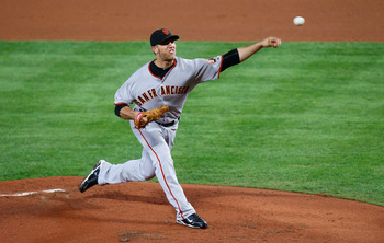 ATLANTA - OCTOBER 11:  Starting pitcher Madison Bumgarner #40 of the San Francisco Giants pitches in the second inning to the Atlanta Braves during Game Four of the NLDS of the 2010 MLB Playoffs at Turner Field on October 11, 2010 in Atlanta, Georgia.  (P