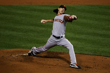 PHILADELPHIA - OCTOBER 16:  Pitcher Tim Lincecum #55 of the San Francisco Giants pitches in the first inning against the Philadelphia Phillies in Game One of the NLCS during the 2010 MLB Playoffs at Citizens Bank Park on October 16, 2010 in Philadelphia,