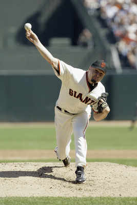 SAN FRANSISCO, CA - SEPTEMBER 30:  Pitcher Jason Schmidt #29 of the San Francisco Giants delivers against the Florida Marlins during the first inning of Game 1 of the 2003 National League Division Series at Pacific Bell Park on September 30, 2003 in San F