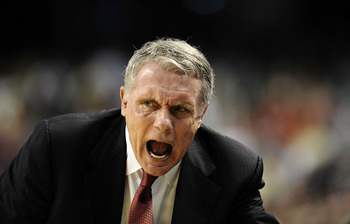 GREENSBORO, NC - MARCH 12:  Gary Williams, head coach of the University of Maryland Terrapins works the sidelines against the Georgia Tech Yellow Jackets in their quarterfinal game in the 2010 ACC Men's Basketball Tournament at the Greensboro Coliseum on