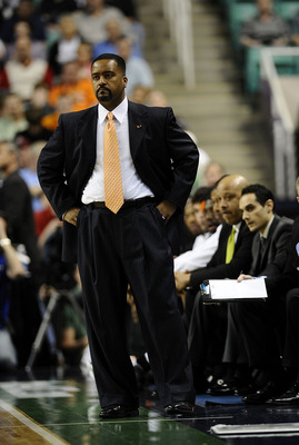 GREENSBORO, NC - MARCH 13:  Frank Haith, head coach of the University of Miami Hurricanes coaches in their semifinal game against the Duke Bluer Devils  in the 2010 ACC Men's Basketball Tournament at the Greensboro Coliseum on on March 13, 2010 in Greensb