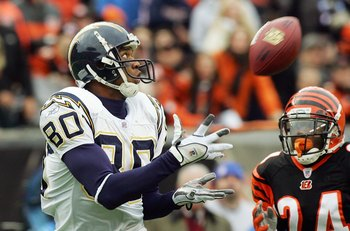 CINCINNATI - NOVEMBER 12:  Malcolm Floyd #80 San Diego Chargers cathes the ball in front of Deltha O'Neal #24 of the Cincinnati Bengals during the NFL game on November 12, 2006 at Paul Brown Stadium in Cincinnati, Ohio.  (Photo by Jim McIsaac/Getty Images
