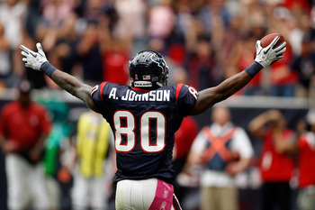 HOUSTON - OCTOBER 10:  Andre Johnson #80 of the Houston Texans in action during the game against the New York Giants at Reliant Stadium on October 10, 2010 in Houston, Texas.  (Photo by Chris Graythen/Getty Images)