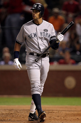 ARLINGTON, TX - OCTOBER 15:  Alex Rodriguez #13 of the New York Yankees  reacts after he struck out in the second inningagainst the Texas Rangers in Game One of the ALCS during the 2010 MLB Playoffs at Rangers Ballpark in Arlington on October 15, 2010 in