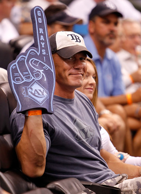 ST. PETERSBURG - JULY 27:  Actor John Cena takes in the game between the Tampa Bay Rays and the Detroit Tigers at Tropicana Field on July 27, 2010 in St. Petersburg, Florida.  (Photo by J. Meric/Getty Images)