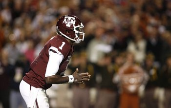 COLLEGE STATION, TX - NOVEMBER 26: Quarterback Jerrod Johnson #1 of the Texas A&M Aggies against the Texas Longhorns in the second half at Kyle Field on November 26, 2009 in College Station, Texas. The Longhorns defeated the Aggies 49-39 (Photo by Aaron M