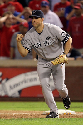 ARLINGTON, TX - OCTOBER 15:  Mark Teixeira #25 of the New York Yankees celebrates after the Yankees recorded the final out of the game in their 6-5 win against the Texas Rangers in Game One of the ALCS during the 2010 MLB Playoffs at Rangers Ballpark in A