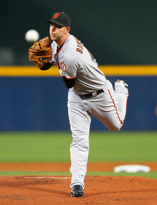 ATLANTA - OCTOBER 11:  Starting pitcher Madison Bumgarner #40 of the San Francisco Giants pitches in the first inning to the Atlanta Braves during Game Four of the NLDS of the 2010 MLB Playoffs at Turner Field on October 11, 2010 in Atlanta, Georgia.  (Ph