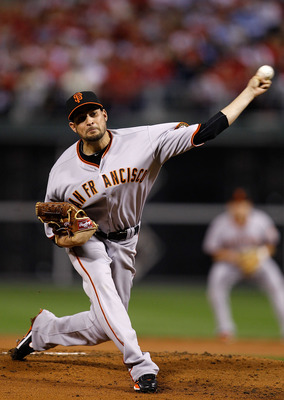 PHILADELPHIA - OCTOBER 17:  Jonathan Sanchez #57 of the San Francisco Giants pitches in the first inning against the Philadelphia Phillies in Game Two of the NLCS during the 2010 MLB Playoffs at Citizens Bank Park on October 17, 2010 in Philadelphia, Penn