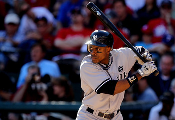 ARLINGTON, TX - OCTOBER 16:  Curtis Granderson #14 of the New York Yankees bats against the Texas Rangers in Game Two of the ALCS during the 2010 MLB Playoffs at Rangers Ballpark in Arlington on October 16, 2010 in Arlington, Texas.  (Photo by Stephen Dun