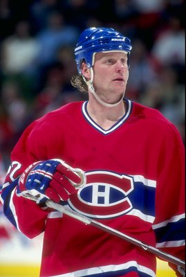 31 Dec, 1997: Dave Manson of the Montreal Canadiens in action during a game against the Calgary Flames at the Canadien Airlines Saddledome in Calgary Canada. Mandatory Credit: Ian Tomlinson  /Allsport