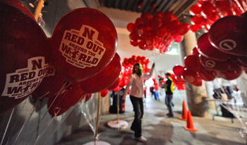 LINCOLN, NE - OCTOBER 16: Balloon vendors hand out balloons specially printed for the Nebraska Cornhuskers football game against the Texas Longhorns at Memorial Stadium on October 16, 2010 in Lincoln, Nebraska.  (Photo by Eric Francis/Getty Images)
