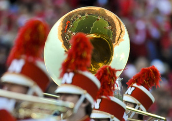 LINCOLN, NEBRASKA - SEPTEMBER 25: The Nebraska Cornusker Marching Band takes the field before the football game between the Nebraska Cornuskers and the South Dakota State Jackrabbits at Memorial Stadium on September 25, 2010 in Lincoln, Nebraska. Nebraska