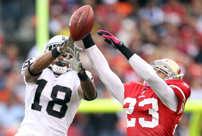 SAN FRANCISCO - OCTOBER 17:  Taylor Mays #23 of the San Francisco 49ers breaks up a pass intended for Louis Murphy #18 of the Oakland Raiders at Candlestick Park on October 17, 2010 in San Francisco, California.  (Photo by Ezra Shaw/Getty Images)
